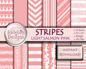 "Pink Stripes Digital Paper Pack, ""LIGHT SALMON PINK"" For Scrapbooking, striped digital paper, triangle digital paper, Design #62"