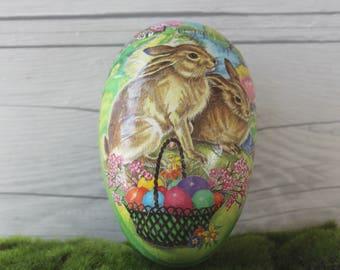 Vintage German Paper Mache Easter Egg, Vintage Easter Egg, Vintage Easter Candy Container (Inventory #1)
