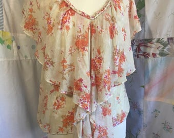 MED/LARGE, Top, Boho Lightweight Hippie Bohemian Flowerchild Blouse