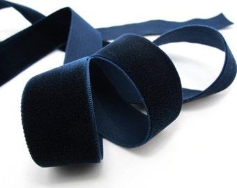 24mm Swiss Made Navy Velvet Ribbon Soft Velvet Trim Embellishment Sewing Supplies Decorative Trim Headband Accessories