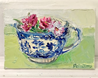 Sweet William in a Cup original still life painting by Polly Jones