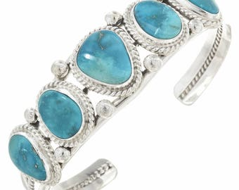 Navajo Sleeping Beauty Turquoise Cuff Sterling Bracelet