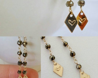 SALE! Pyrite & gold delicate dangle earrings w/ hand stamped heart on gold diamond shape. Customize. Heart. Lotus. Initial. Star. Wire wrap.