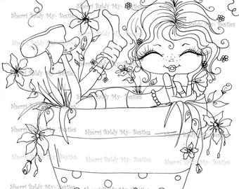 INSTANT DOWNLOAD Digital Digi Stamps Big Eye Big Head Dolls Digi Fairy Kitty IMG375 Garden Flower Bestie Daisy Ann  By Sherri Baldy