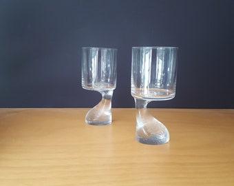 Joe Colombo for JC Riedel, Austria - Asimetrico Glasses (2) - Assimetrico - 5 7/8 Inches - Thinner Bottoms - Design 1968 - 1970s