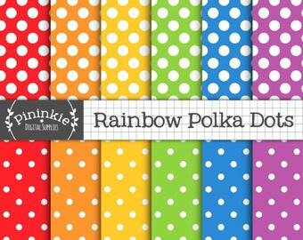 Rainbow Digital Paper, Polka Dots, Digital Scrapbook Paper, Instant Download, Commercial Use