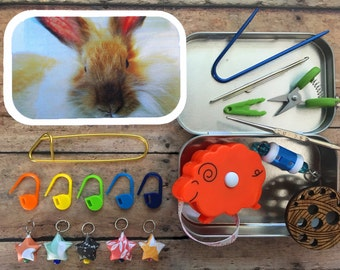 Angora Rabbit Knitter's Tool Tin: altered altoid tin for your knitting project bag