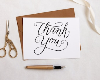 Printable Thank You Card Template - Calligraphy - Hand Lettered Thank You Card - Rustic Thank You Card - Instant Download