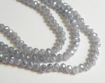 Wisteria Dusty Lavender light AB faceted glass rondelle opalescent beads 6x4mm full strand PEGLA-F05-2