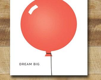 red balloon children's art print, nursery art poster, modern nursery wall art, 8x10 - dream big