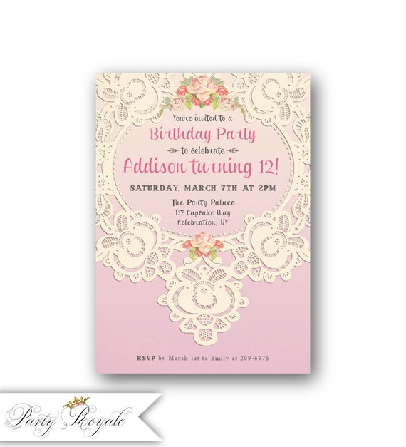 Lace 12th Birthday Invitations for Girls Teen Birthday