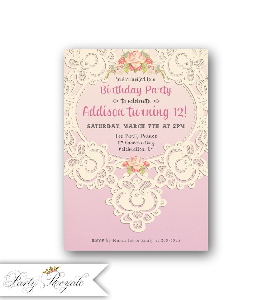 Lace 12th Birthday Invitations for Girl\'s Teen Birthday