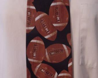 Football, Sport, Black, Brown Novelty Men's Necktie