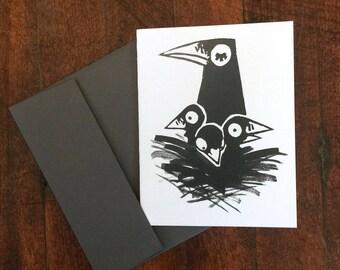 Crow Mama A2 Sized Greeting Card