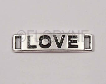 "Insert separator, silver plated rectangular pendant ""Love"" 6 X 28 Mm"