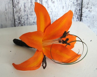 Orange tiger lily boutonniere, Fall boutonniere, Lily prom boutonniere, Groom's  buttonhole, groomsmen accessory, wedding accessories