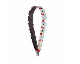 IstrapU-Shoulder strap in red leather with flowers,Bag strap leather replacement, Strap you