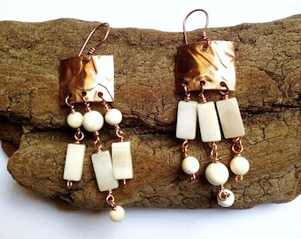 Copper pendant earrings, mother of pearl and Shell