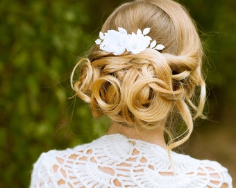 Bridal flower hair comb Bridal floral headpiece Wedding hair flower Leaf flower wedding hair comb Wedding flower hair piece Bridal headpiece