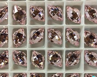 Pair Swarovski Crystal Lemon Fancy Stone 4230 Rosaline Light Rose Rare Custom Coated 14x9 Small Ultra Faceted Chessboard Baby Pastel Pink