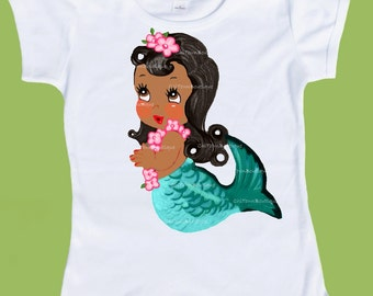 Mermaid Birthday Party, Customized Free, African American, Mermaid, Brown skin, Party T Shirt, Retro Mermaids ChiTownBoutique