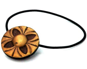 Ponytail Holder made with Vintage Celluoid Button, Quadrefoil Design, Butternut Brown Color, Casual Hair Accessory, Decorative Hair Elastic