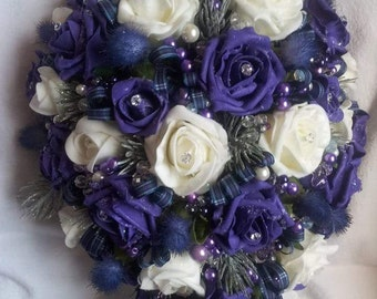 Purple pride of Scotland bridal teardrop bouquet