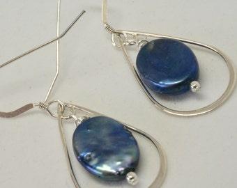 Navy Blue Earrings, Long Oval Dangles, Retro Sterling Silver Earrings, Navy Pearl Earrings, Fresh Modern Earrings, Blue Geometric Earrings