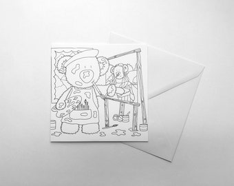 Artist Bear Colour Your Own Card