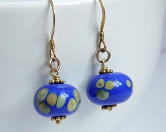 Blue lampwork and gold vermeil earrings