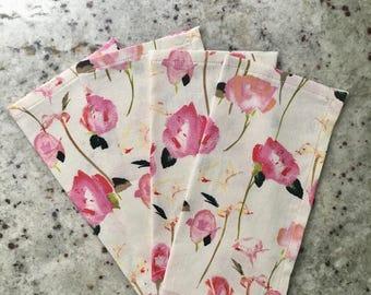 Floral Cloth Napkins - Linen Napkins - Cotton Napkins - Eco Friendly Napkins - Fabric Napkins - Reusable Napkins - Handmade Napkins