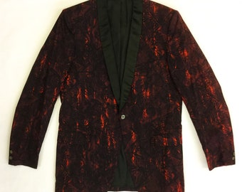 Late 50s Early 60s Amazing Red Tiki Pattern Tux Jacket