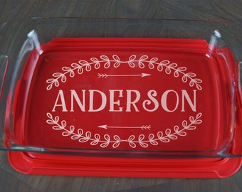 Personalized Casserole Dish Pyrex Baking Dish Engraved Name Christmas Present Mother's Day Wedding Gift Etched A 37