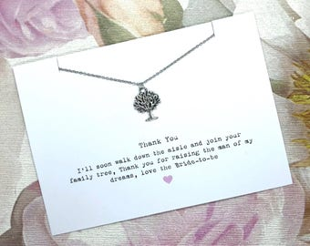 Mother of The Groom Necklace Gift - Family Tree - Wedding Gifts  - Personalised -  Gift For Her - Thank you - Mother of the Birde