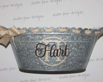 Personalized Beverage Tub - Galvanized Metal Bucket, Tailgating Ice Tub - Assorted Colors Available