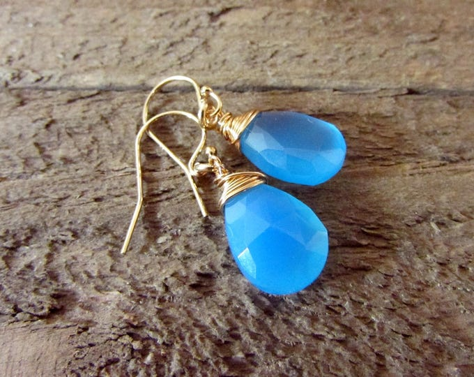 Blue Chalcedony & Gold Earring, Sea Blue Dangle, Simple Blue Earring