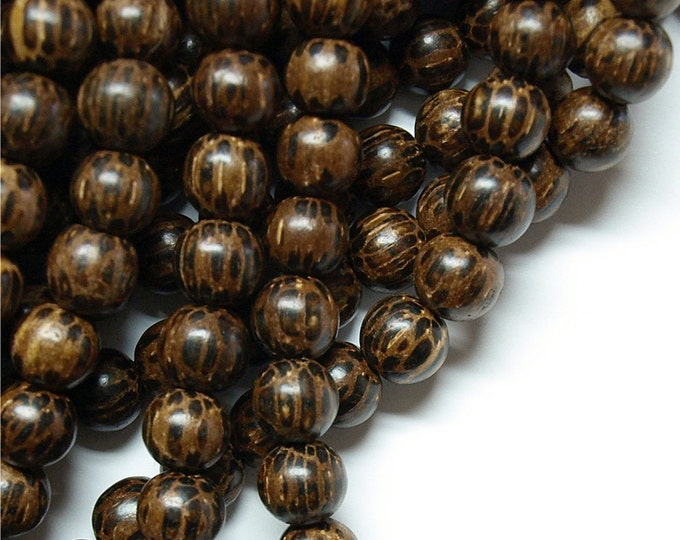 Wood Bead, Round 8mm, Old Palm - Ten 16 Inch Strands (WDRD-08PM)