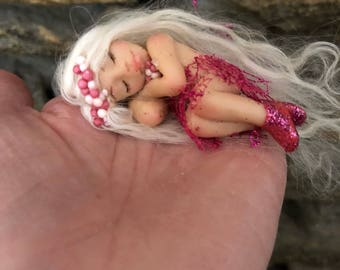 Teeny Tiny Fairy, Destiny - Fairy Doll, Fairy, Tiny Fairy, Pixie, Custom Fairy, Sleeping Fairy, Fairy Gift, OOAK Fairy,  Made to order