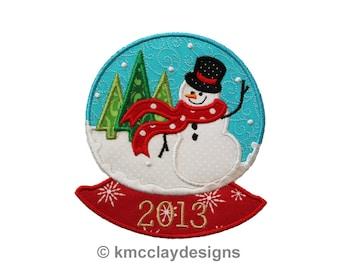 Snowglobe Snowman Applique. Machine Embroidery Applique Design. Instant Download. 5x7design from kmcclayapplique