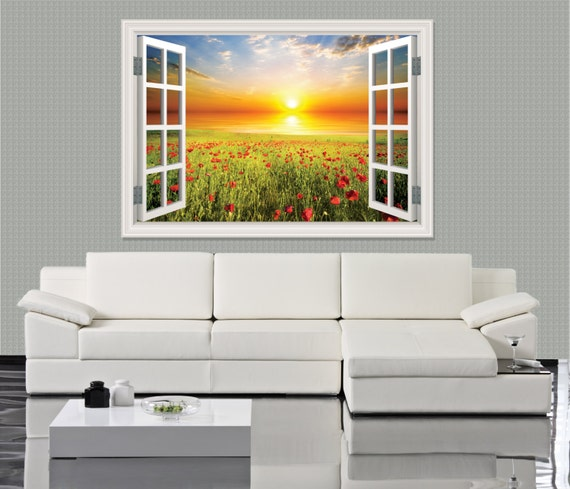Sunset Field 3D Window Decal by ArtVint
