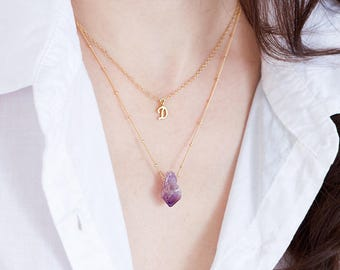 Raw Crystal Layering Necklace, Rough Cut Amethyst Stone Pendant, Rose Gold Satellite Chain, Handmade Necklace, February Birthstone Gift