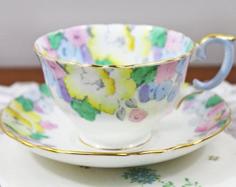 Vintage Crown Staffordshire Pastel Pink Yellow Blue Floral Chintz English Bone China Teacup and Saucer, Wedding Tea Party Favor
