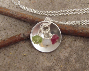 Mother's Birthstone necklace - Dainty birthstone necklace -Sterling silver and GENUINE birthstone necklace - Custom birthstone necklace