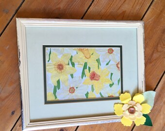 Painted Frame, Upcycled, Cream Frame, Photoframe, Silver Leaf, Daffodils, Welsh, Wales, Special Gift, Birthday, New Home