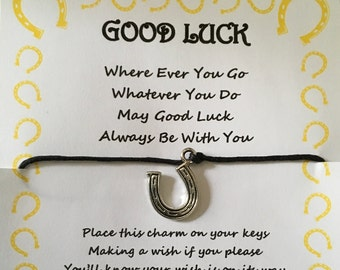 Good luck, horseshoe, may good luck always be with you quote, competition, exam, test, key, keyring, wish, charm, card, gift, poem