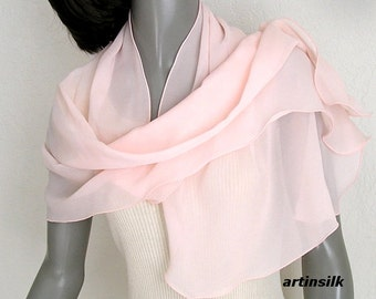Peach Pink Coverup Sheer Silk Scarf, Unique Hand Dyed Silk Chiffon Scarf, Hand dyed, Petite Wrap, S XS Shawl, Gift for Girl, Artinsilk.