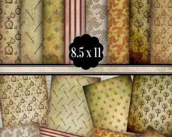 Steampunk Paper Pack printable paper crafting crafts digital download scrapbooking backgorund gears 8.5 x 11 inch - VDPAST1025