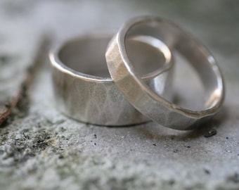 Hammered Sterling Silver Bands (2 rings)