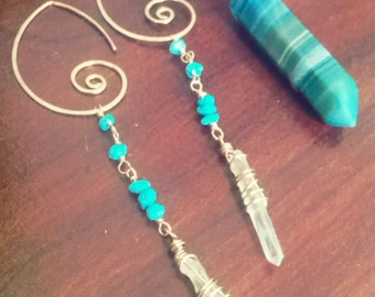 Wai and Kai Collection, interchangeable swirl earrings in gold filled with healing clear quartz crystal for the crown and turquoise for the