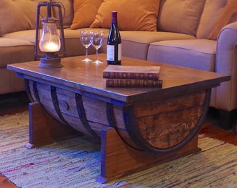 High Quality Whiskey Barrel Coffee Table With Storage (Reclaimed Oak Cask)